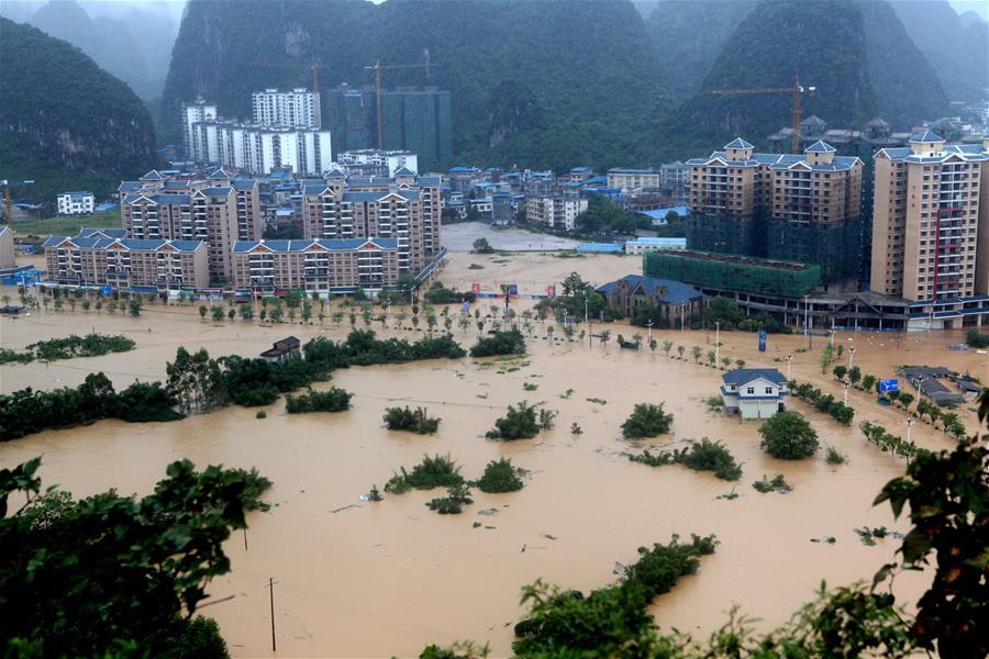 廣西融水遭遇洪水襲擊
