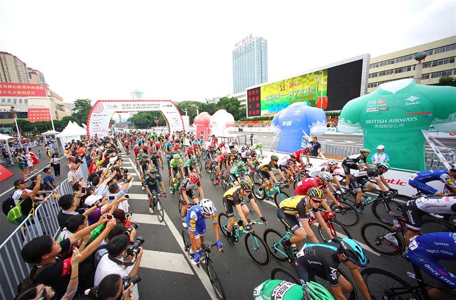 自行車——環廣西公路自行車世界巡回賽進入第三賽段