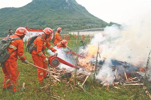 河池市森林火災應急處置演練活動在羅城舉行