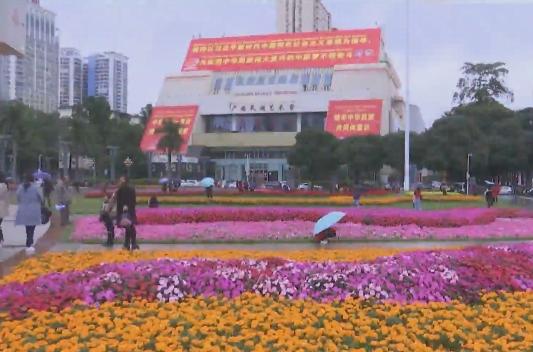 壯鄉首府迎大慶:街頭繁花各異 夜景璀璨如畫