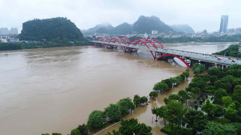 柳州:柳江河水再度上漲 一周遭遇三次洪峰