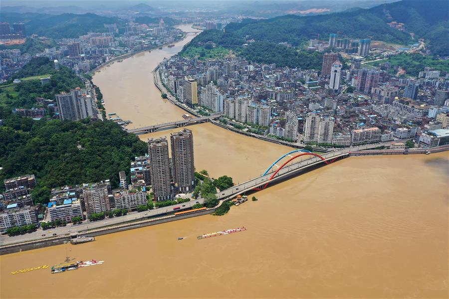 西江第2號洪水過境廣西梧州