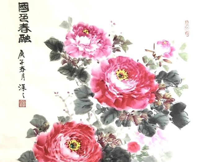 中國畫《國色春融》
