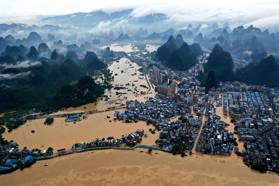 廣西融水:洪峰過境
