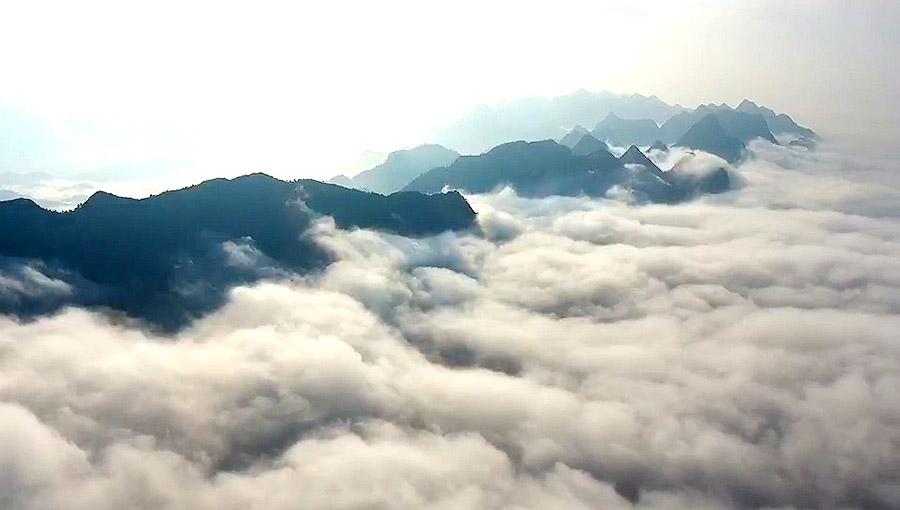 晨霧飄繞蓮花坳 雲海奇峰美如畫