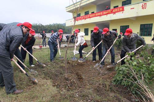金港金城濱海及欽州公司到援建小學開展植樹活動